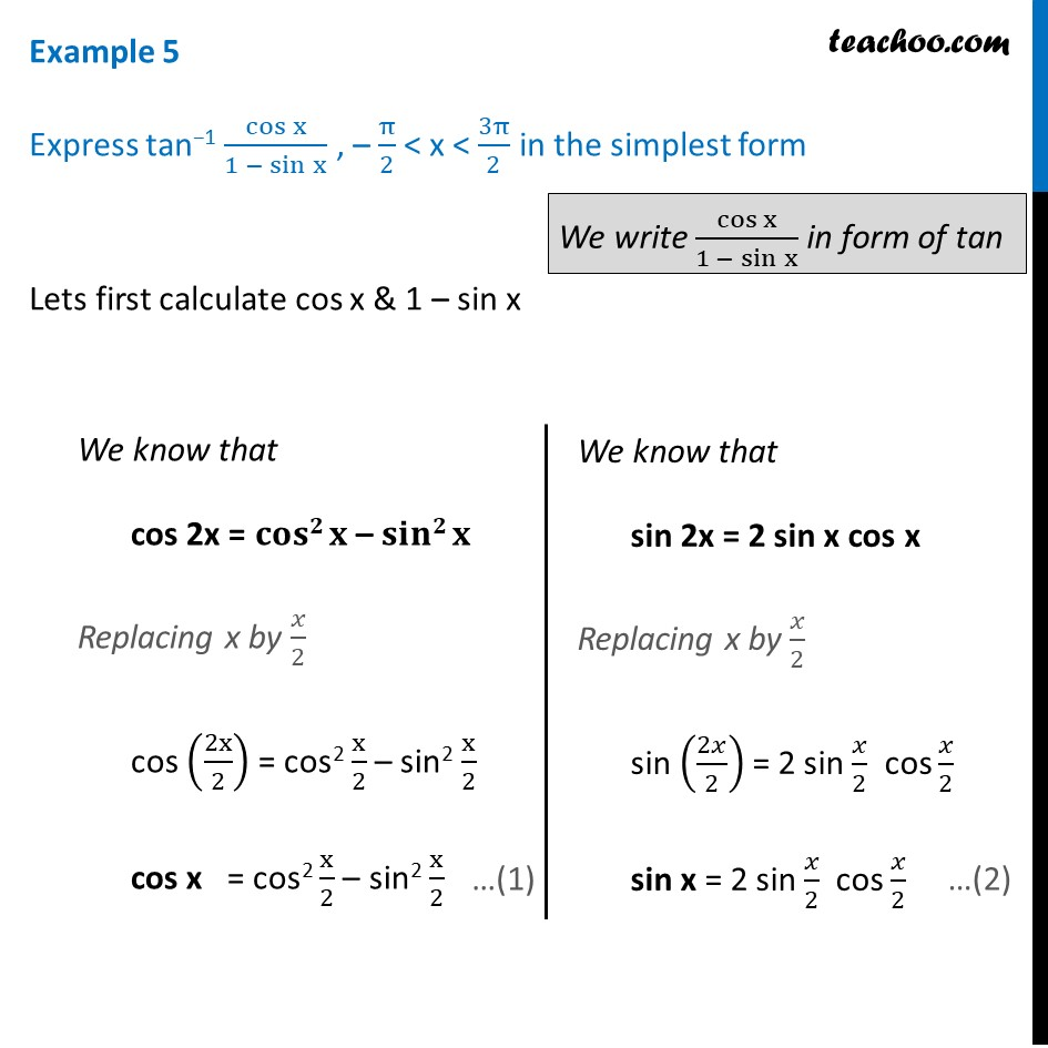 Example 5 - Express tan-1 cosx/(1 - sinx) - Chapter 2 Inverse