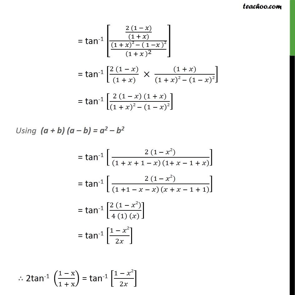 Misc 14 Solve Tan 1 1 X1 X 12 Tan 1 X Ncert
