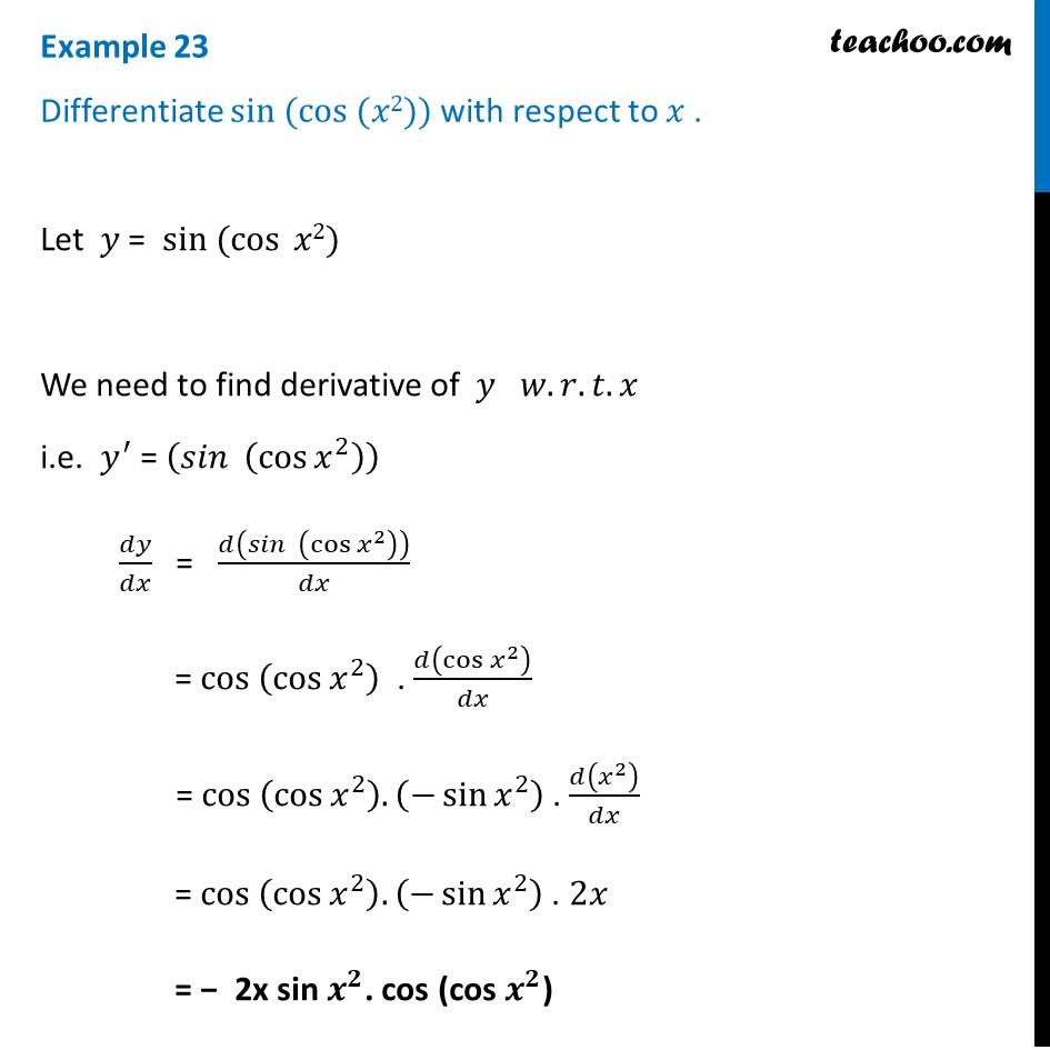 Example 23 - Differentiate sin (cos (x^2)) - Teachoo - Examples