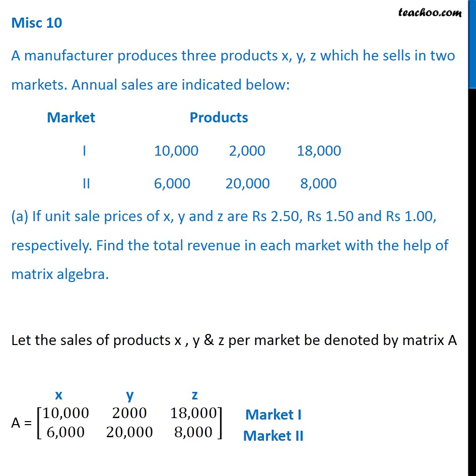 Misc 10 - A manufacturer produces three products x, y, z