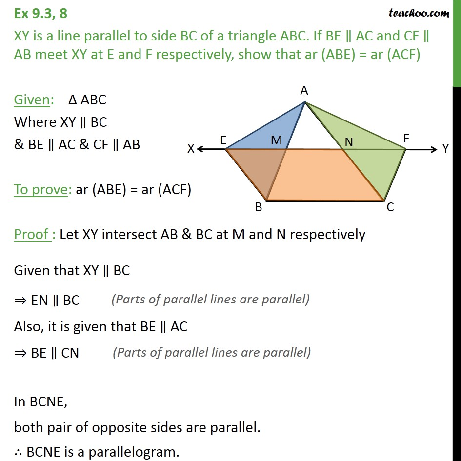 Ex 9.3, 8 - XY is a line parallel to side BC of a ABC - Paralleograms & triangles with same base & same parallel lines