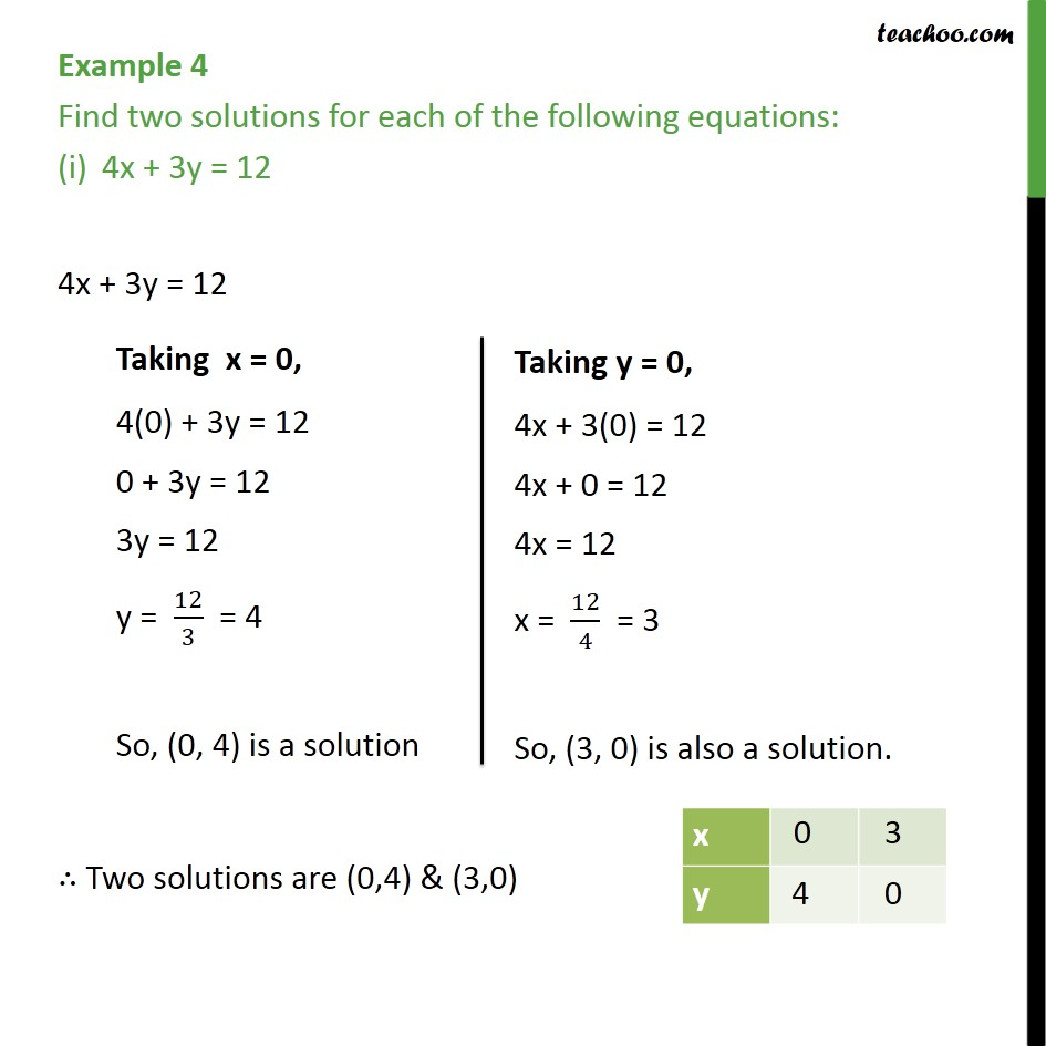 Example 4 - Find two solutions for each of following equations - Examples