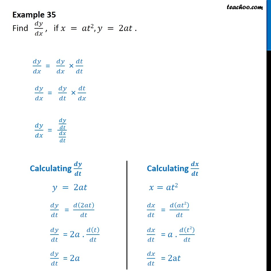 Example 35 - Find dy/dx, if x = at2, y = 2at - Class 12 CBSE  - Derivatives in parametric form