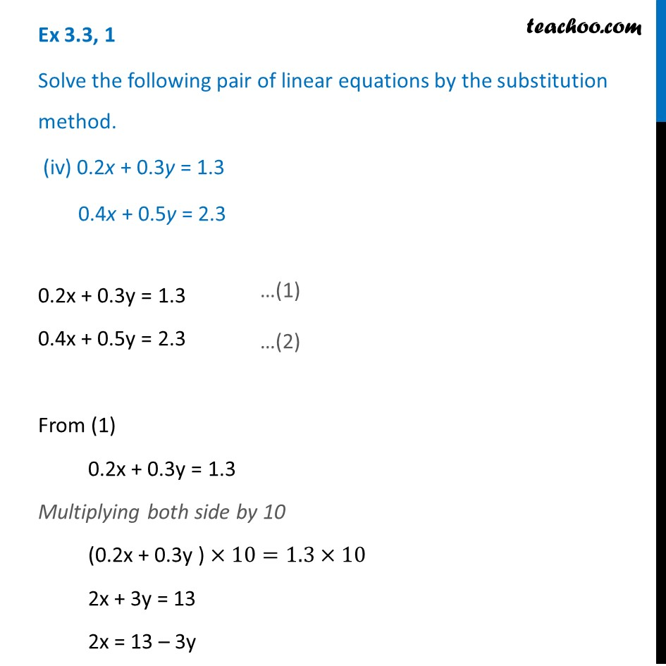 Ex 3.3, 1 - Chapter 3 Class 10 Pair of Linear Equations in Two Variables - Part 11