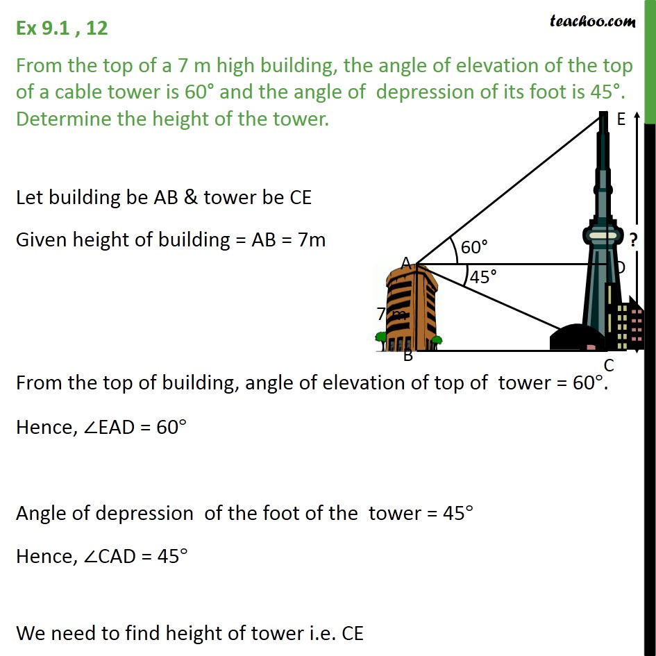 Ex 9.1, 12 - From the top of a 7 m high building, angle - Questions easy to difficult