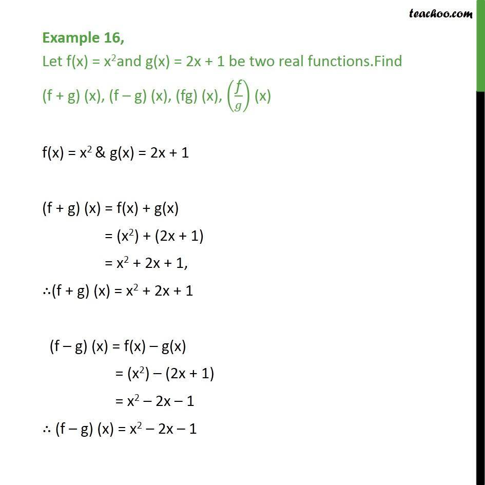 Example 16 - Let f(x) = x2 and g(x) = 2x + 1. Find f + g, fg,f/g - Examples