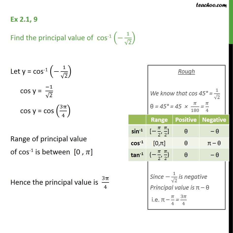 Ex 2.1, 9 - Find principal value of cos-1 (-1/root 2) - Finding pricipal value