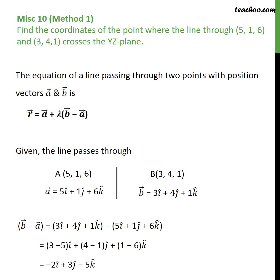 Misc 10 - Find coordinates point where line crosses YZ-plane - Point with Lines and Planes