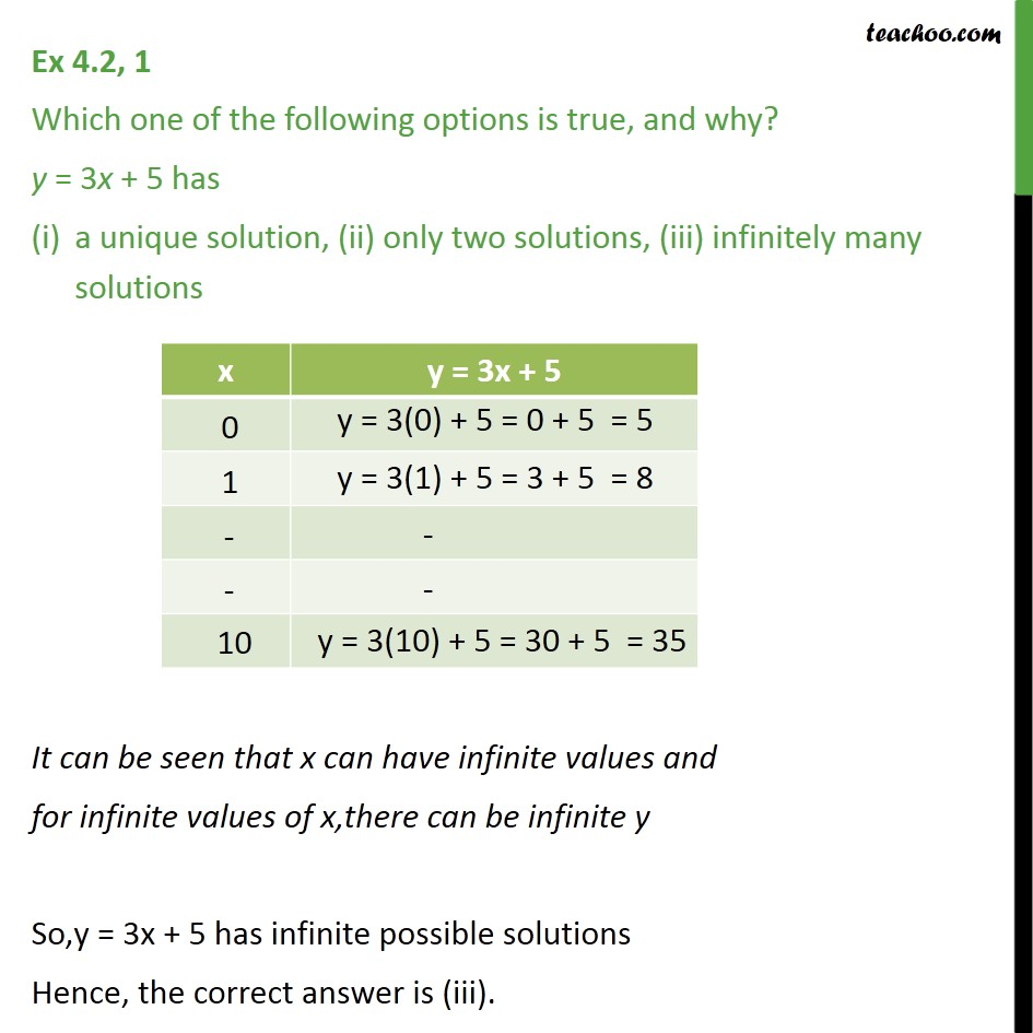 Ex 4.2, 1 - Which one of following options is true and - Graph of linear equations
