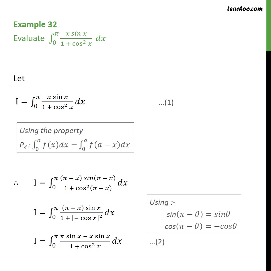 Example 32 - Evaluate integral  x sin x / 1 + cos2 x dx - Definate Integration by properties - P4