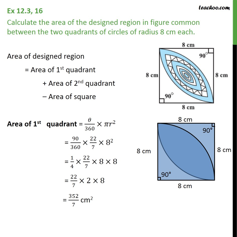 Ex 12.3, 16 - Calculate the area of the designed region - Ex 12.3