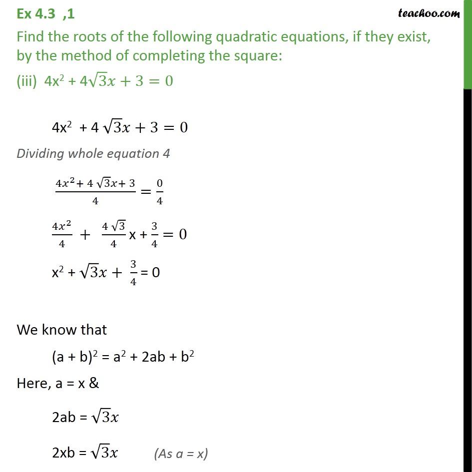 Ex 4.3, 1 (iii) - Ex 4.3