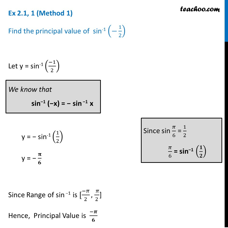 Ex 2.1, 1 - Find principal valueof sin-1 (-1/2) - Chapter 2