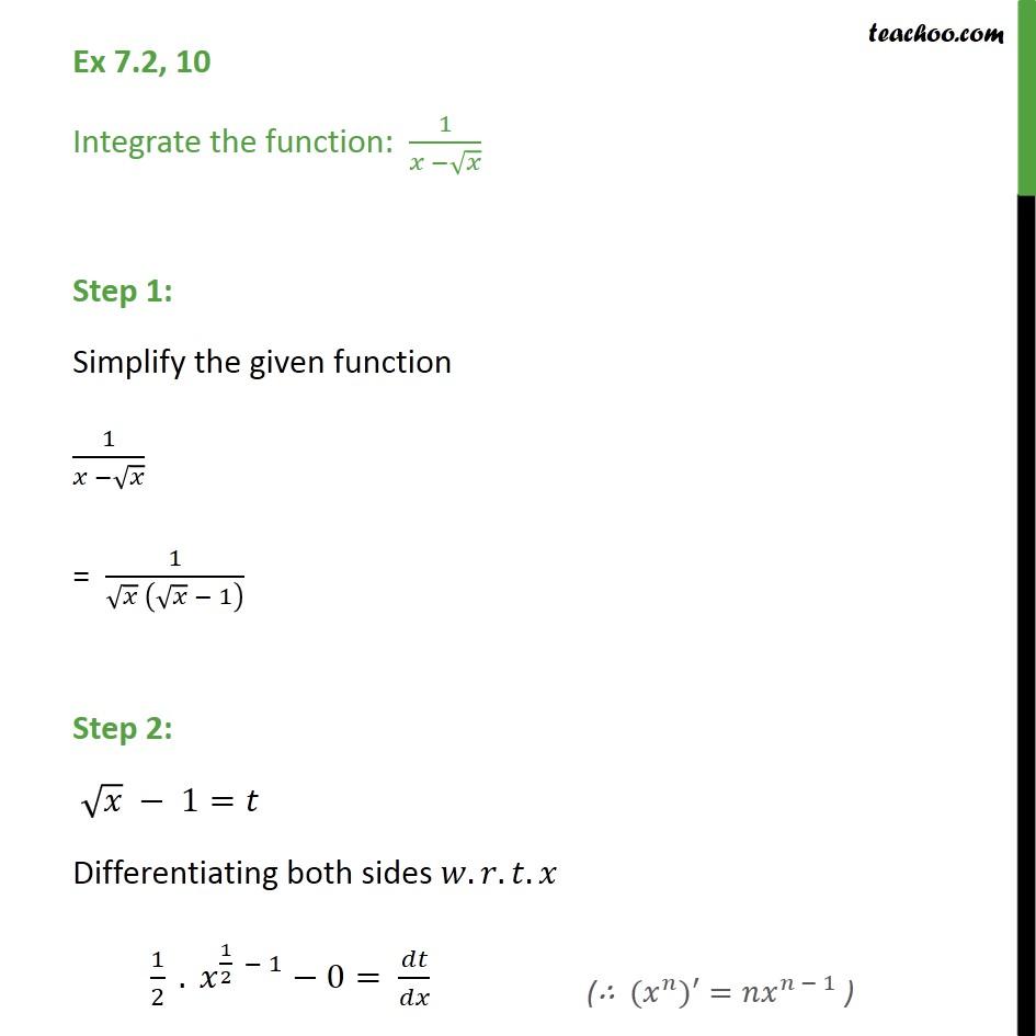 Ex 7.2, 10 - Integrate 1/(x - root(x)) - Chapter 7 CBSE - Ex 7.2