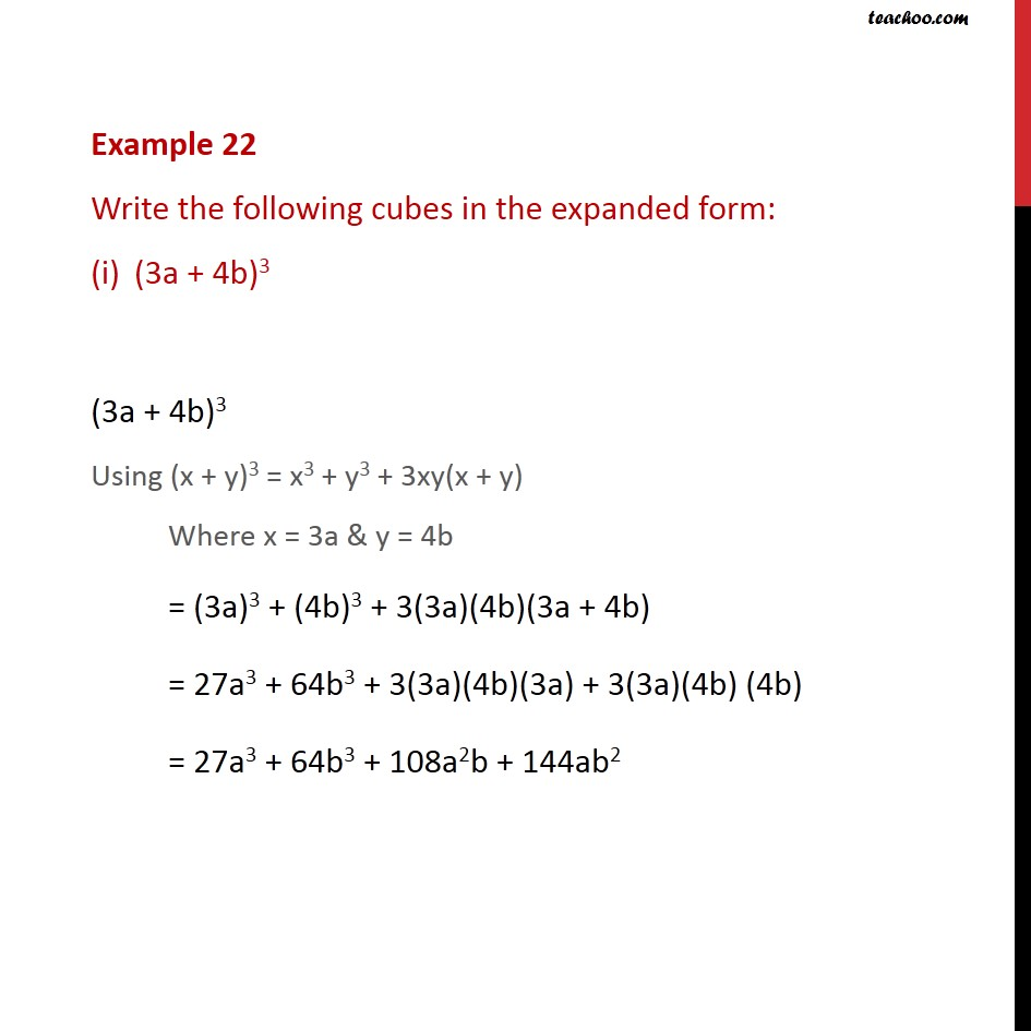Example 22 - Write the following cubes in expanded form - Identity VI & VII
