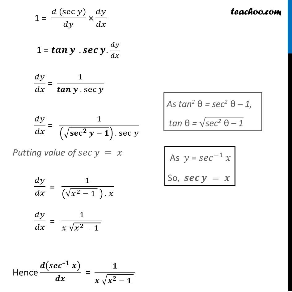 Derivative of sec-1 x (Sec inverse x) - Part 2