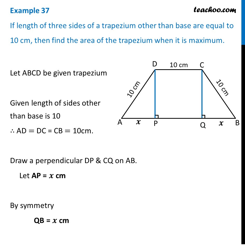Example 37 - If length of three sides of a trapezium other