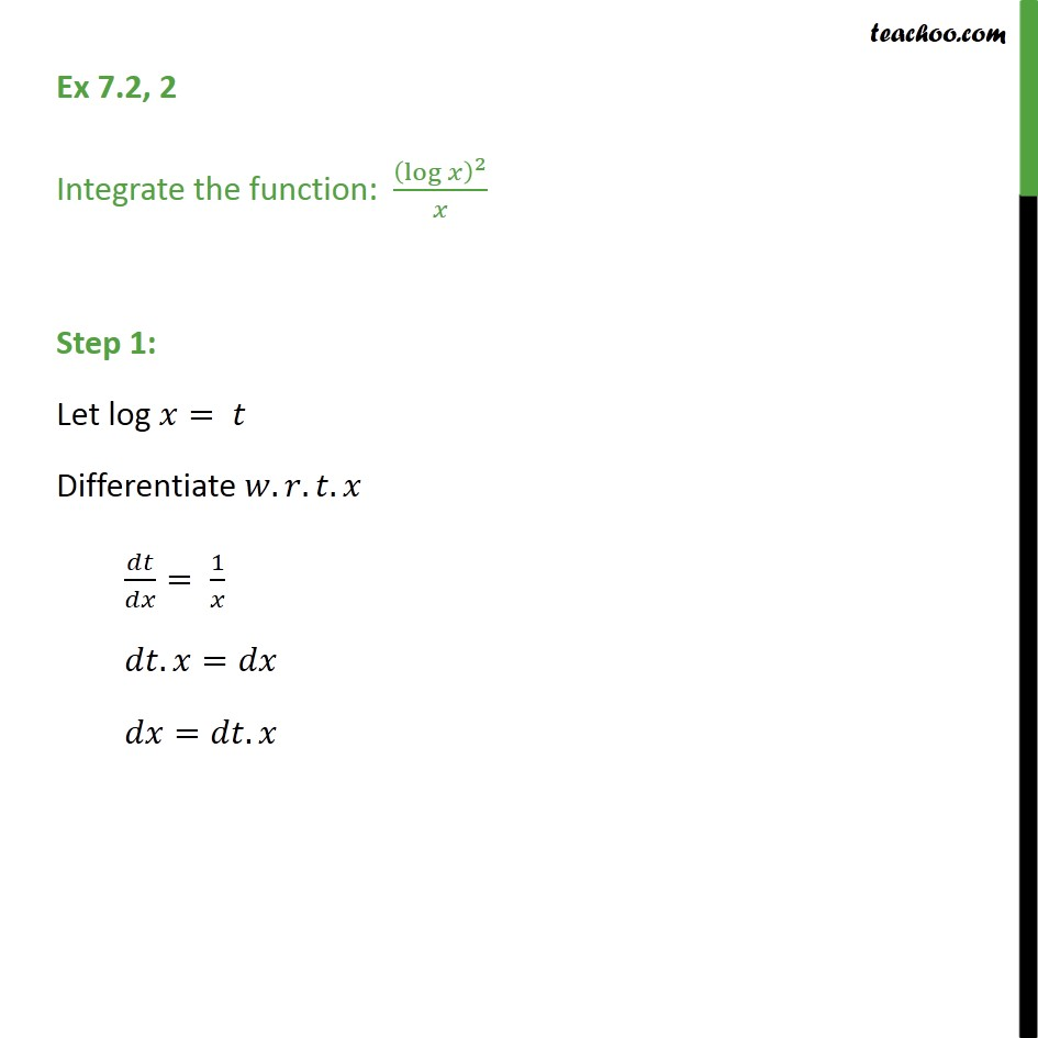Ex 7.2, 2 - Integrate:  (log x)2 / x - Chapter 7 NCERT - Integration by substitution - x^n