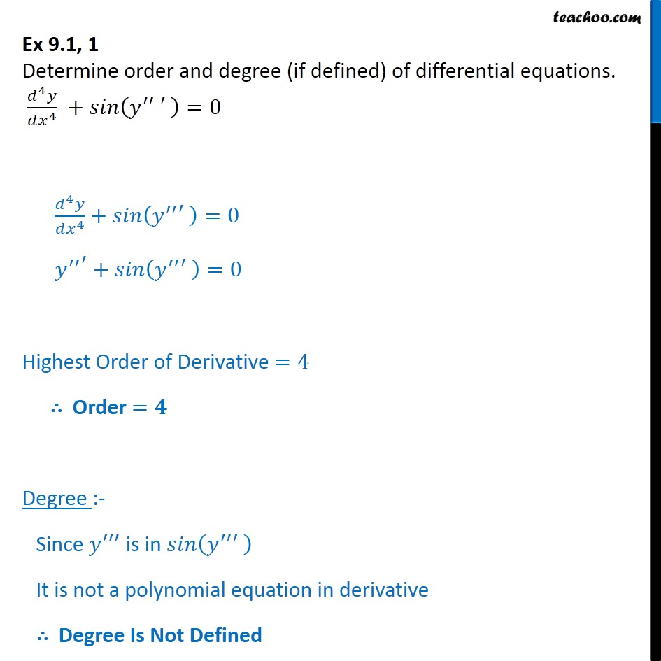 Ex 9.1, 1 - Determine order and degree of differential equations - Ex 9.1