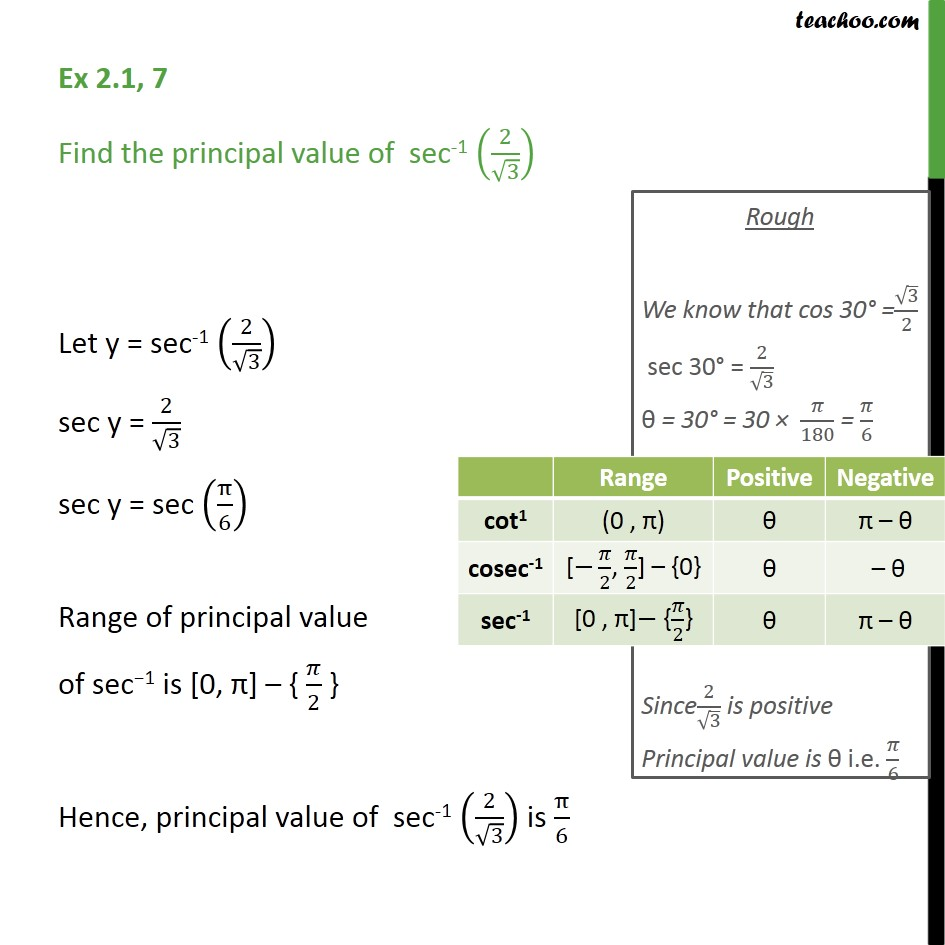Ex 2.1, 7 - Find principal value of sec-1 (2/root 3) - Chapter 2 - Finding pricipal value