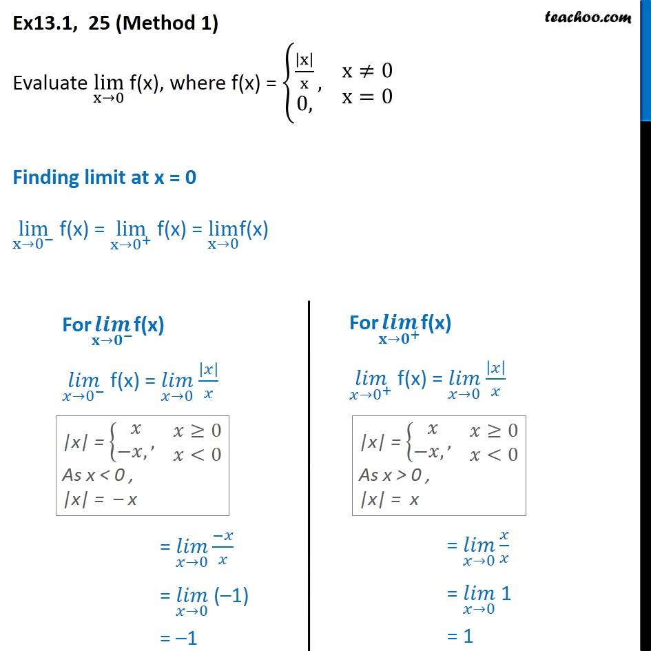 Ex 13.1, 25 - Evaluate lim x->0 f(x), f(x) = { |x|/x, 0 - Ex 13.1