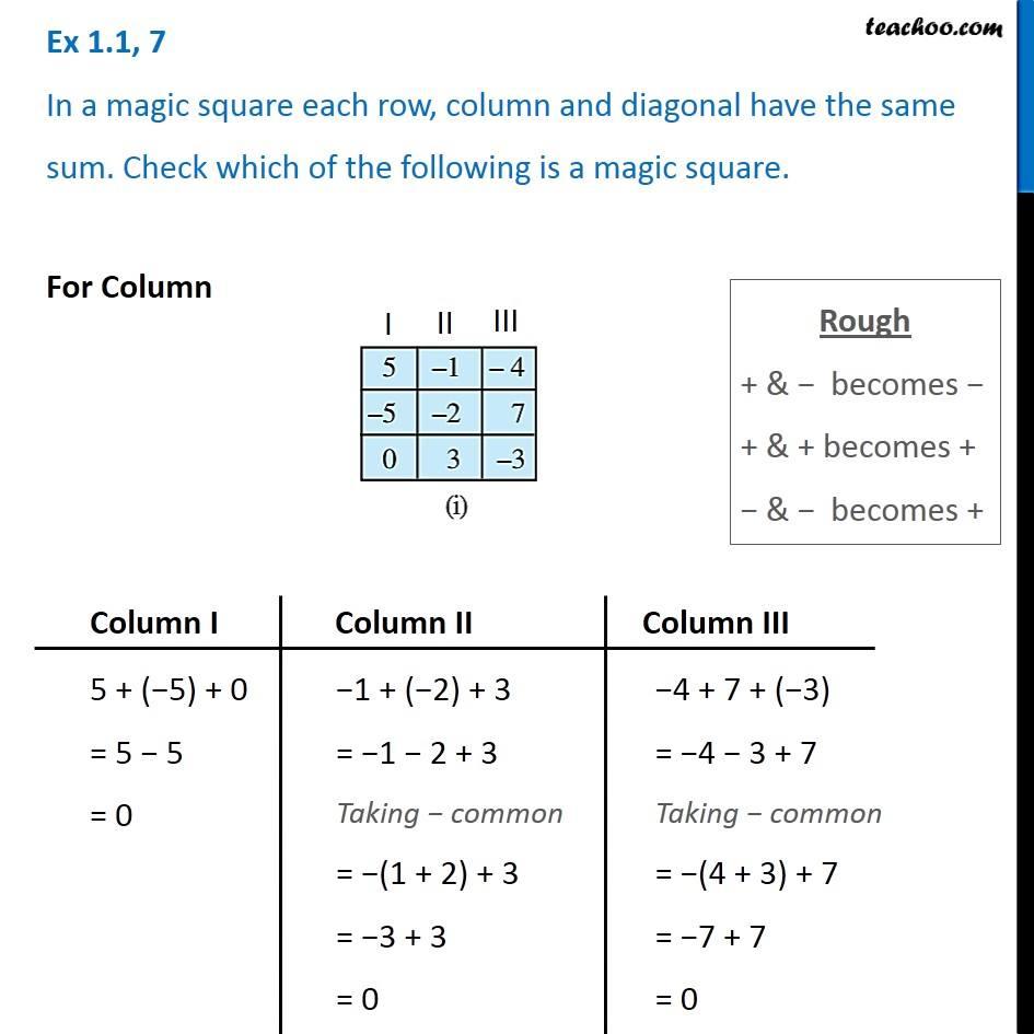 Ex 1 1, 7 - In a magic square each row, column, diagonal