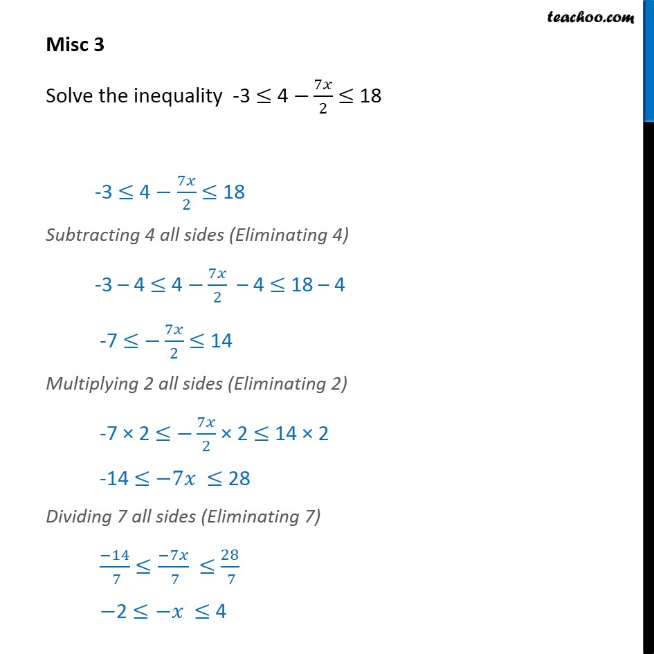 Misc 3 - Solve -3 <= 4 - 7x / 2 <= 18 - Chapter 6 NCERT - Solving inequality  (both  sides)