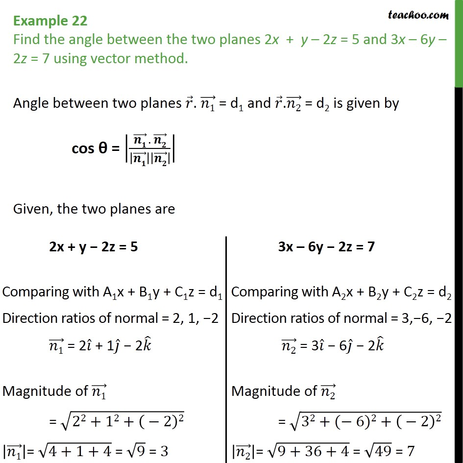 Example 22 - Find angle between two planes using vector method - Angle between two planes