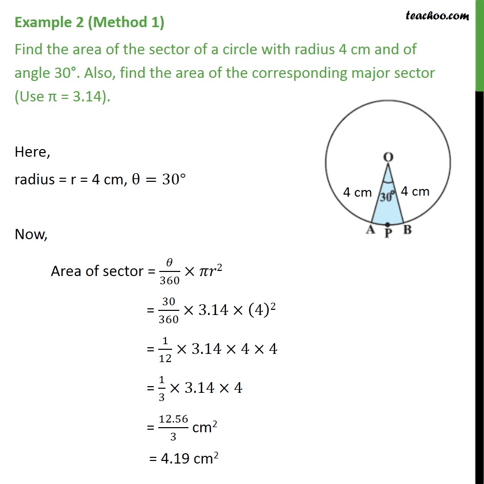 Example 2 - Find area of sector, radius 4 cm, angle 30 - Examples