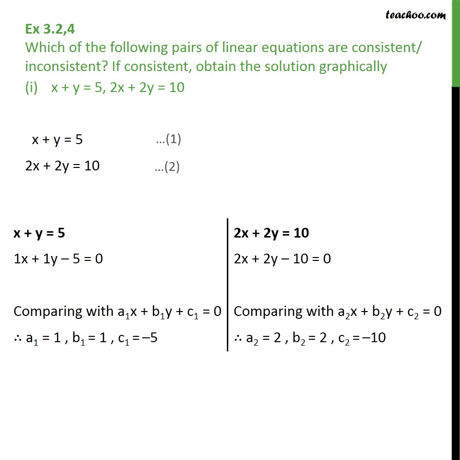 Ex 3.2, 4 - Which of the pairs of linear equations are - Ex 3.2