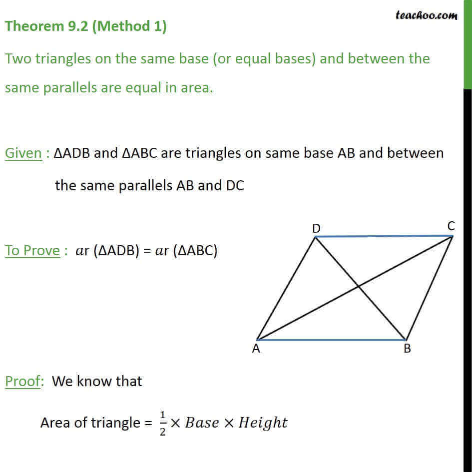 Theorem 9.2 - Class 9 - Two triangles on same base between parallels.jpg