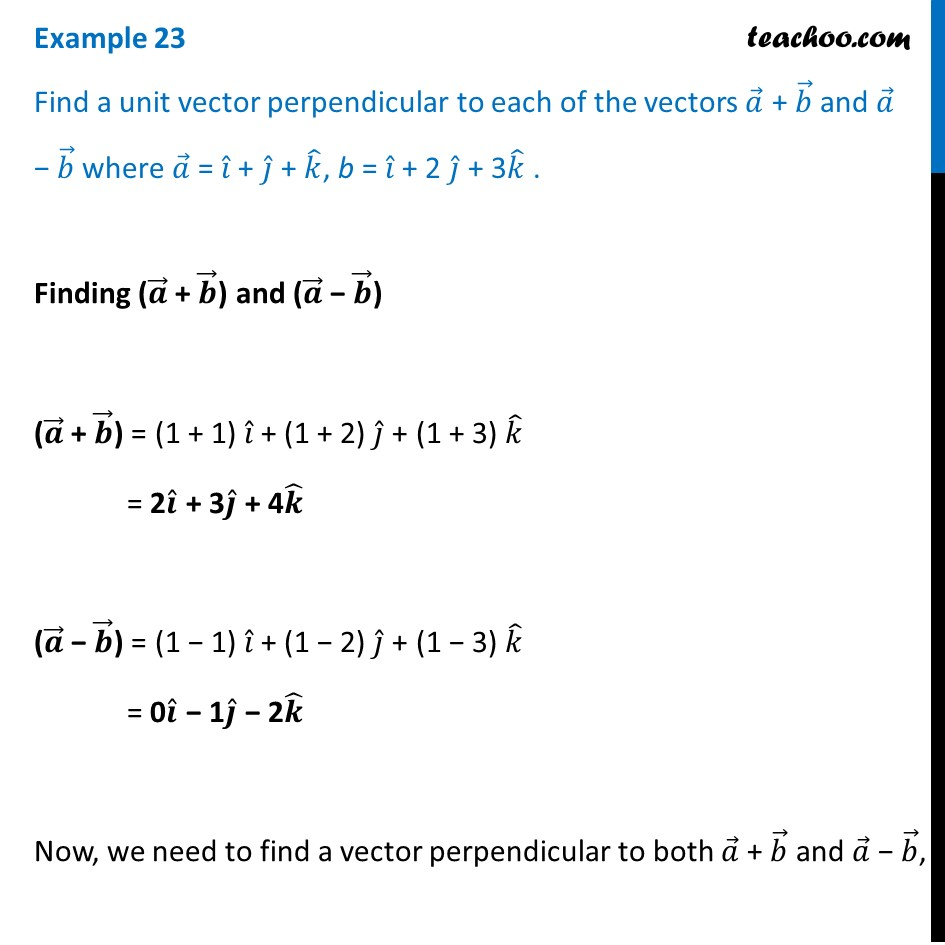 Example 23 - Find a unit vector perpendicular to a + b, a - b