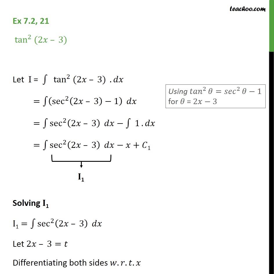 Ex 7.2, 21 - Integrate tan2 (2x - 3) - Class 12 CBSE - Ex 7.2
