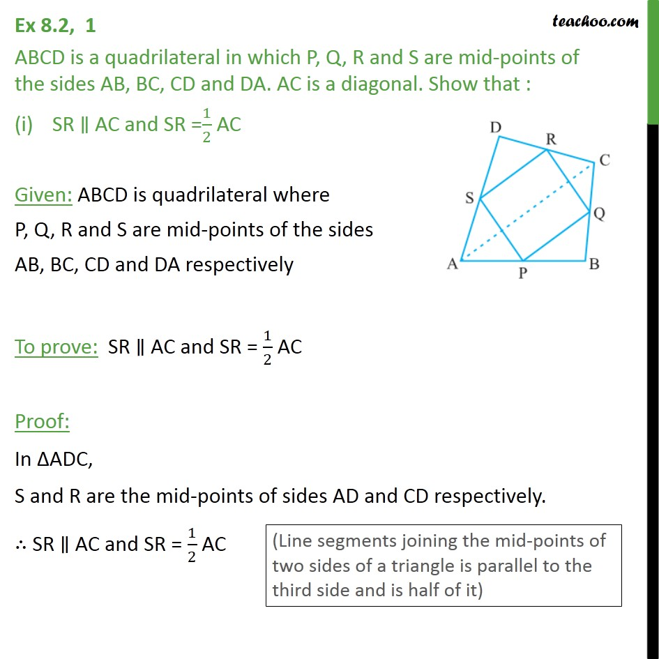 Ex 8.2, 1 - ABCD is a quadrilateral in which P, Q, R and S - Ex 8.2