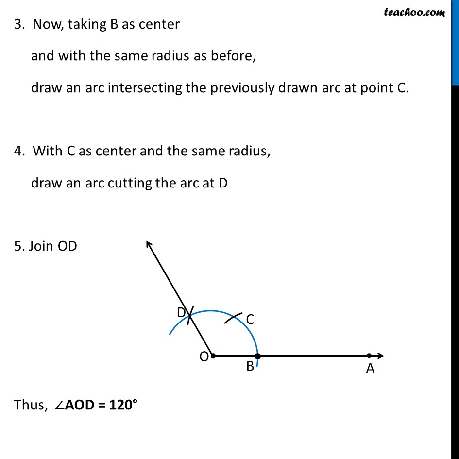 Construct an angle of 120° using compass - Part 2