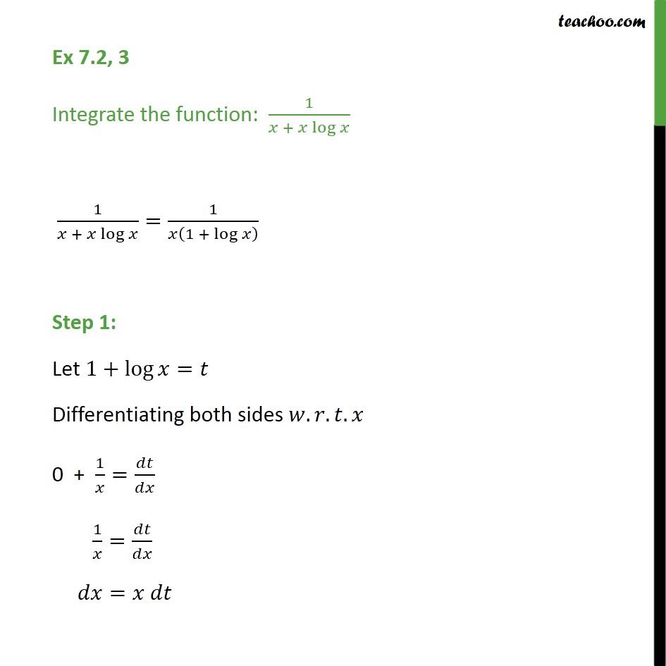 Ex 7.2, 3 - Integrate: 1/ (x + x log x) - Class 12 NCERT - Integration by substitution - lnx