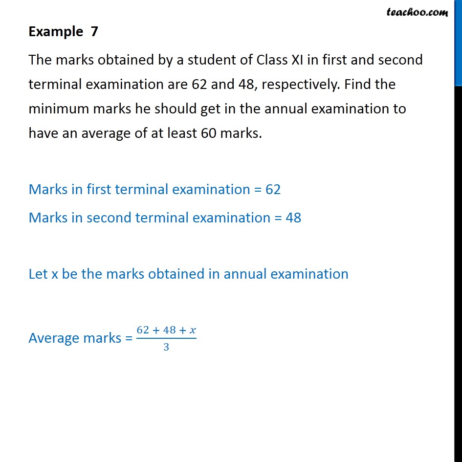 Example 7 - The marks obtained by a student of Class XI in - Examples