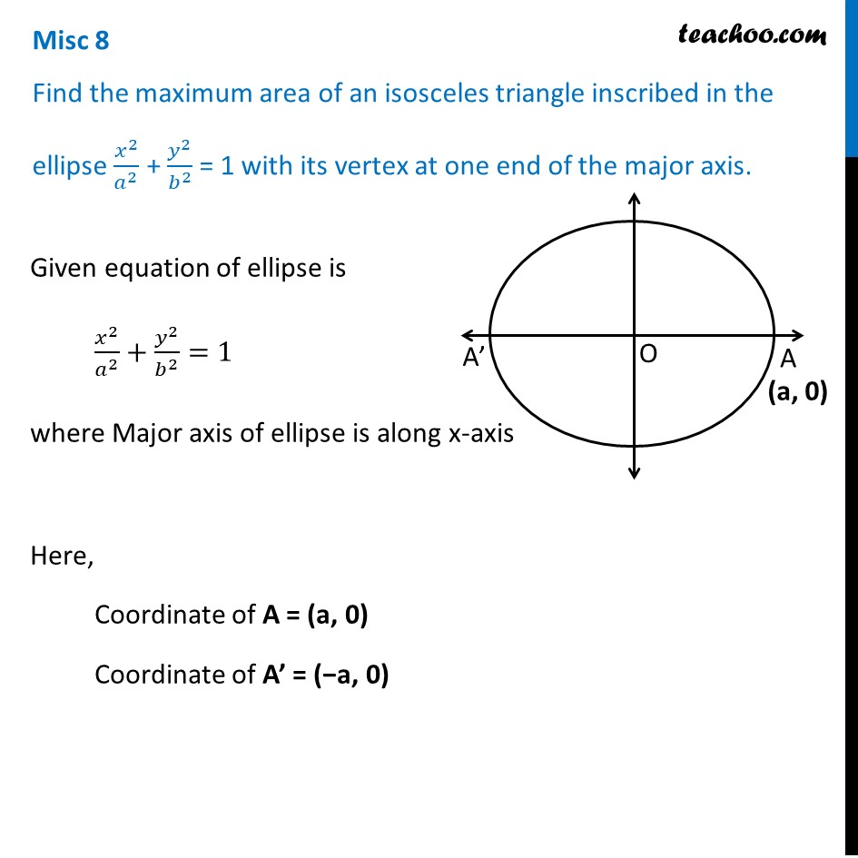 Misc 8 - Find maximum area of an isosceles triangle inscribed