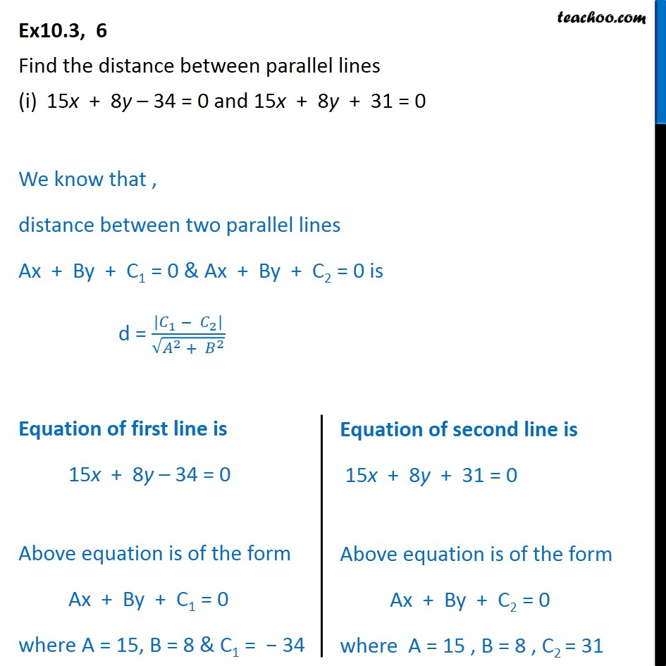 Ex 10.3, 6 - Find distance between parallel lines - Class 11 - Distance - Between two parallel lines