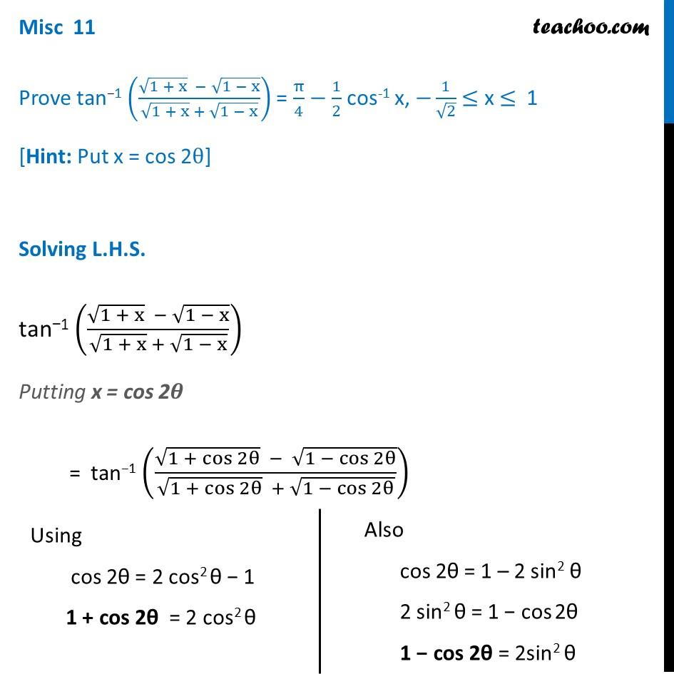 Misc 11 - Chapter 2 Class 12 Inverse Trigonometry - tan-1