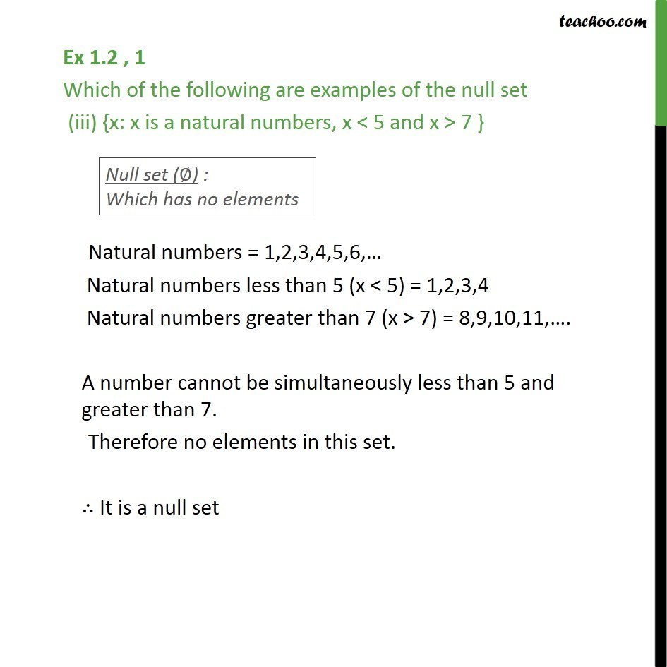 Ex 12 1 Which Are Examples Of Null Set I Set Of Odd