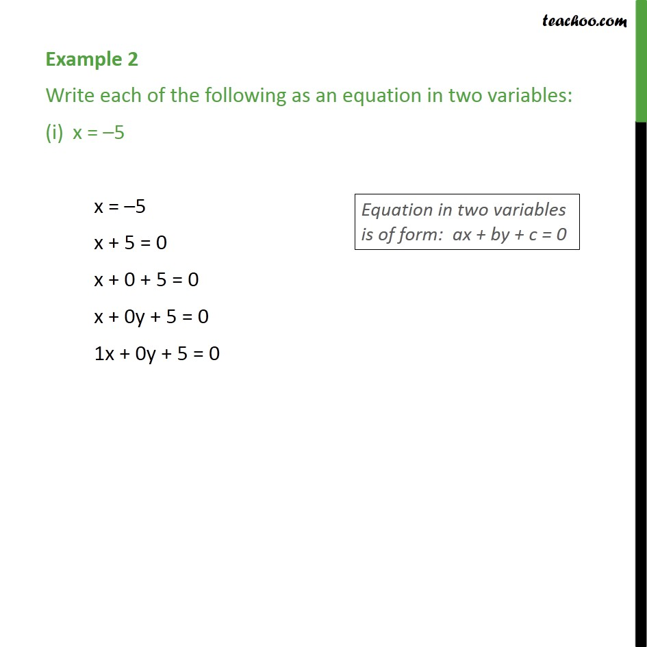 Example 2 - Write each of the following as an equation - Examples
