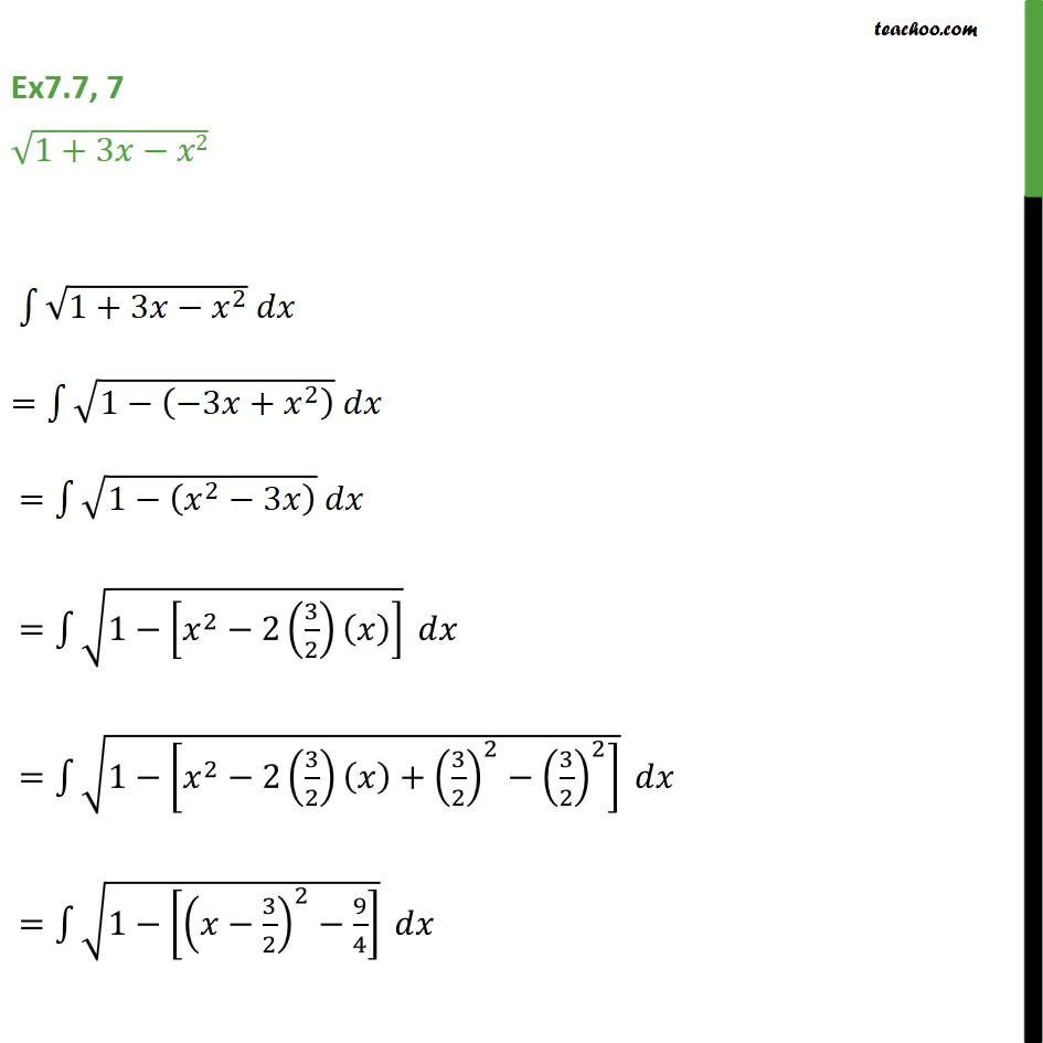 Ex 7.7, 7 - Integrate root 1 + 3x - x2 - Chapter 7 CBSE - Integration by specific formulaes - Formula 8