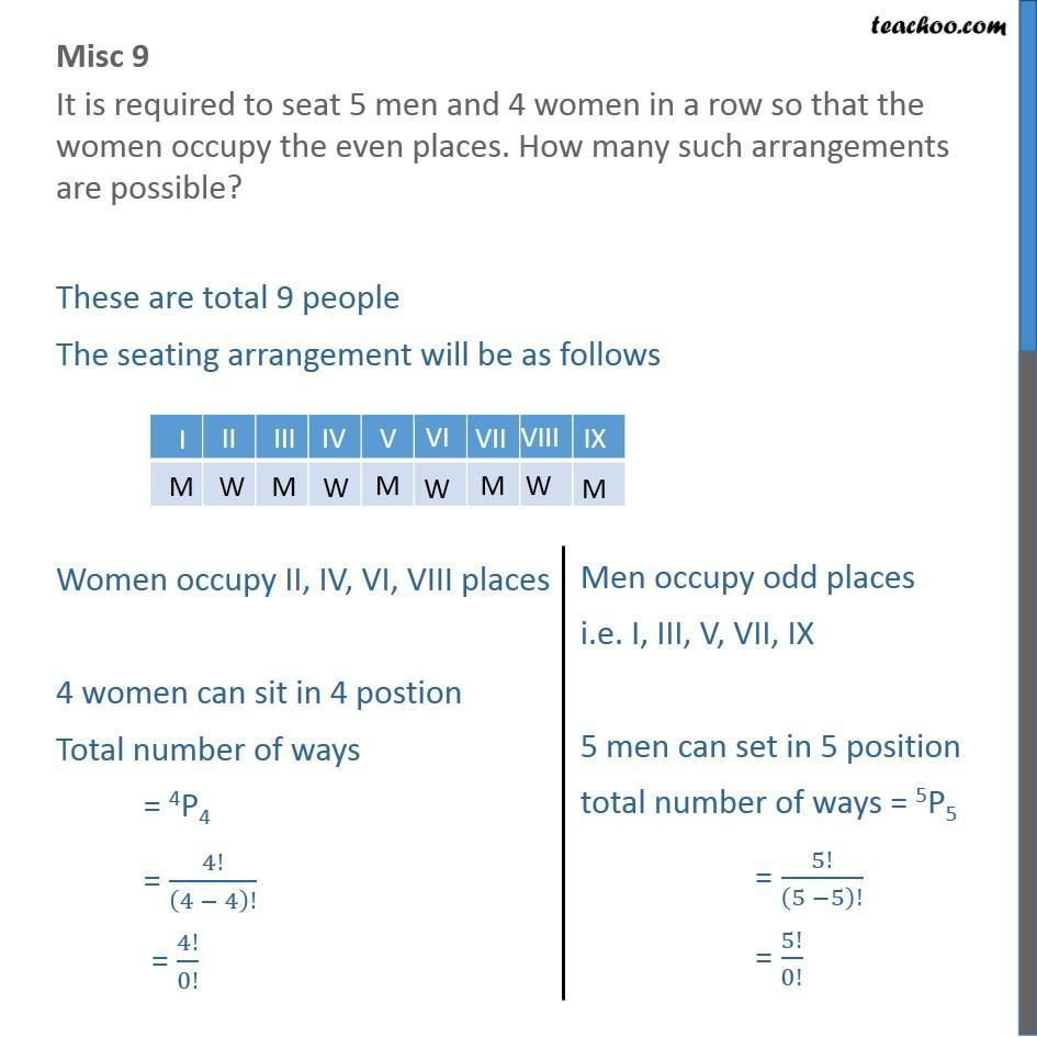 Misc 9 - It is required to seat 5 men and 4 women in a row - Permutation- non repeating