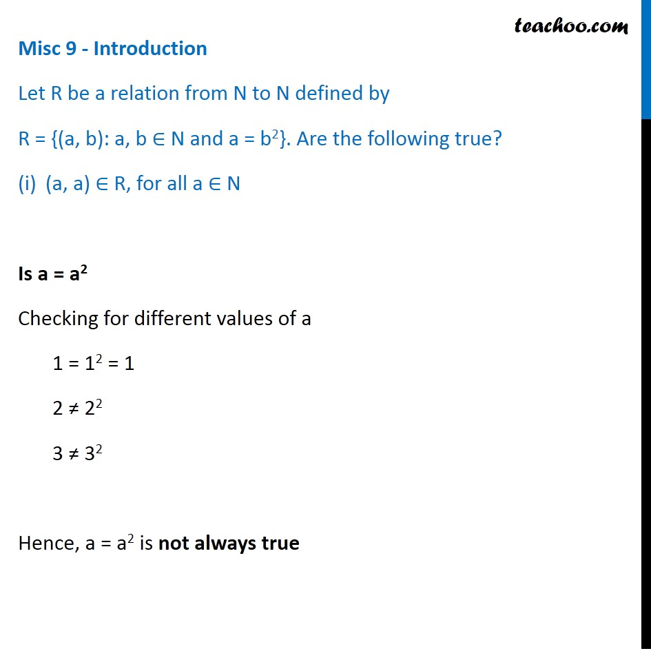 Misc 9 - R = {(a, b): a, b N and a = b2} - Chapter 2 Class 11