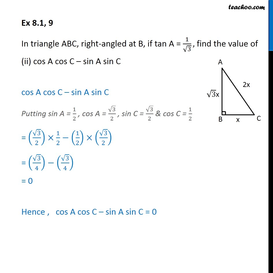 Ex 8.1, 9 - Chapter 8 Class 10 Introduction to Trignometry - Part 5