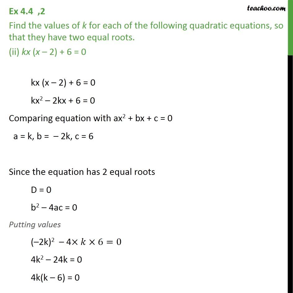 Ex 4.4, 2 - Chapter 4 Class 10 Quadratic Equations - Part 3
