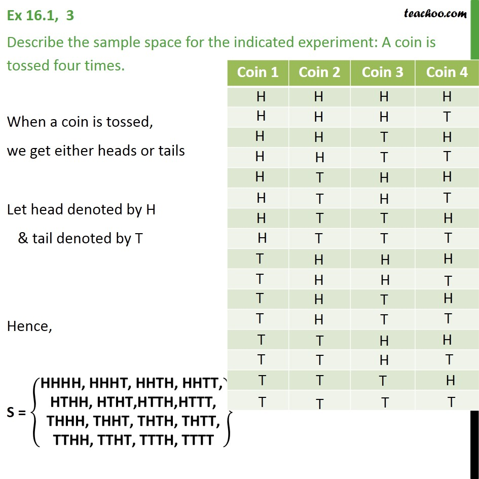 Ex 16.1, 3 - Describe sample space: A coin is tossed four times - Ex 16.1