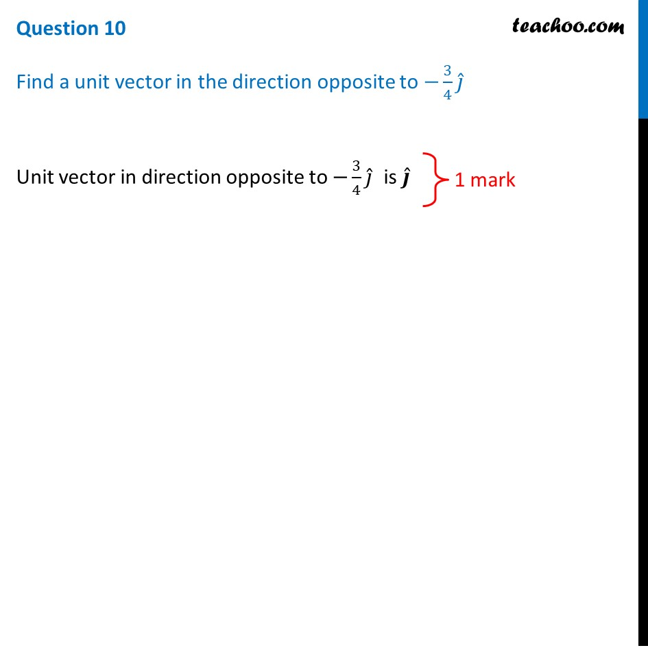 Find a unit vector in the direction opposite to -3/4 j - Teachoo