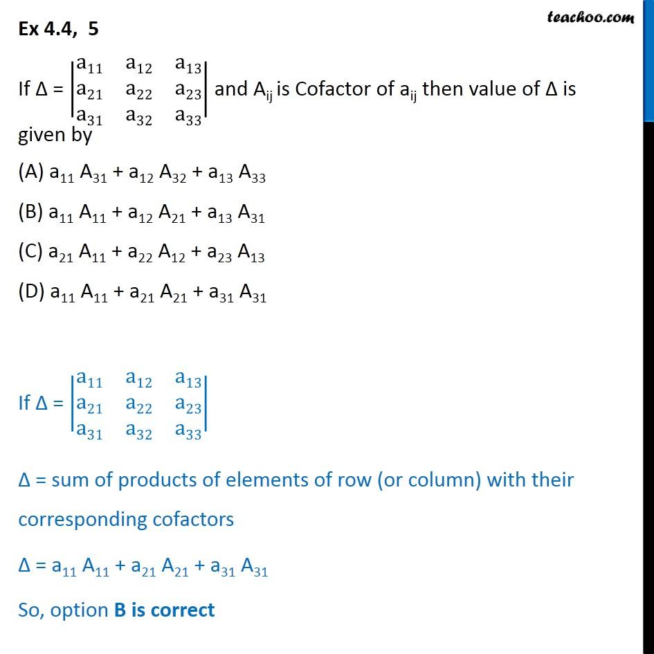 Ex 4.4, 5 - If Aij is Cofactor of aij then value of determinant - Ex 4.4
